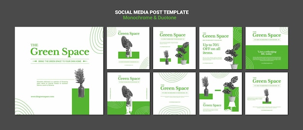 Green space social media posts template Free Psd