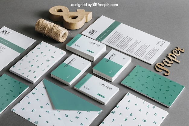 Green stationery mockup Free Psd