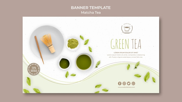 Green tea banner with white background template Free Psd