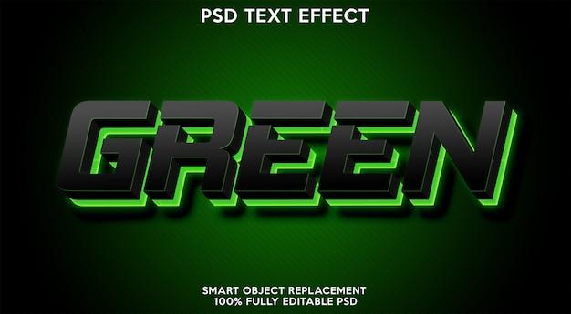 緑のテキスト効果テンプレート Premium Psd
