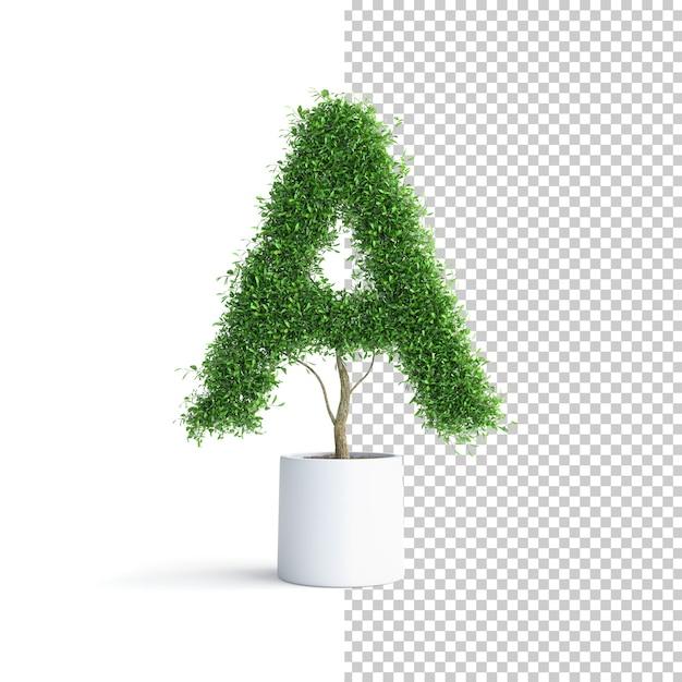 Зеленое дерево алфавит буква a Premium Psd