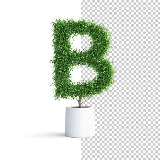 Буква b алфавита зеленого дерева Premium Psd