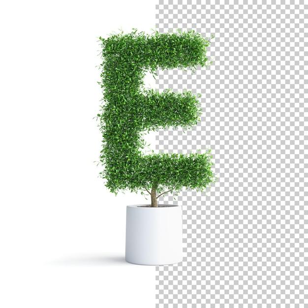 Письмо e об алфавите зеленое дерево Premium Psd
