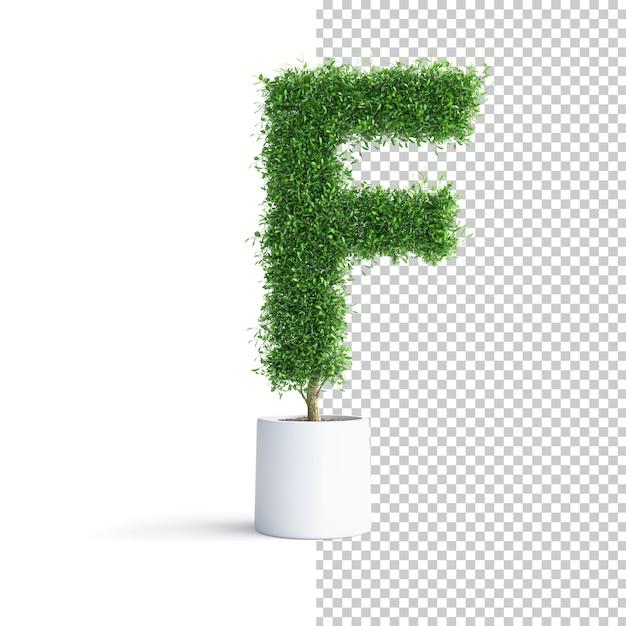 Зеленое дерево алфавит буква f Premium Psd