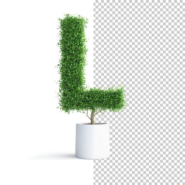 Буква j алфавита зеленого дерева Premium Psd