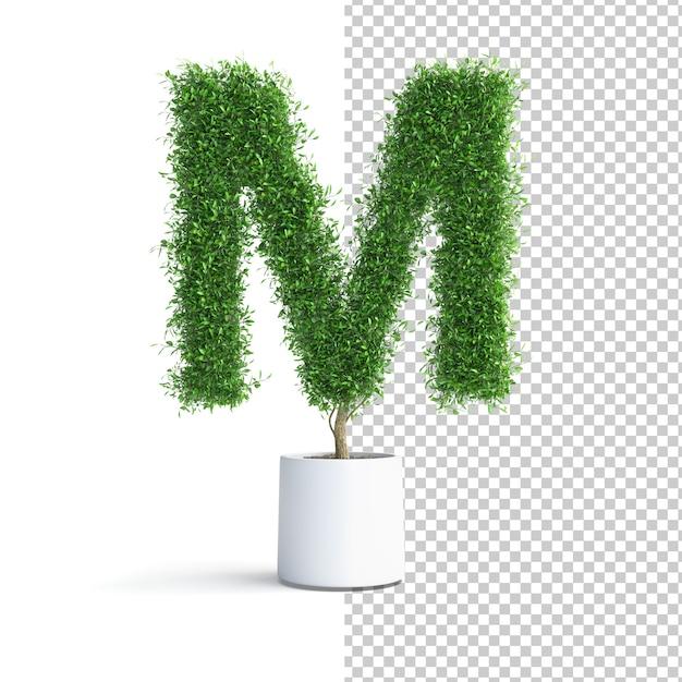 Письмо m об алфавите зеленое дерево Premium Psd