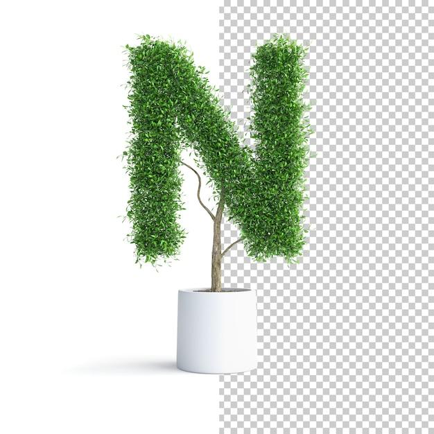 Письмо n об алфавите зеленое дерево Premium Psd