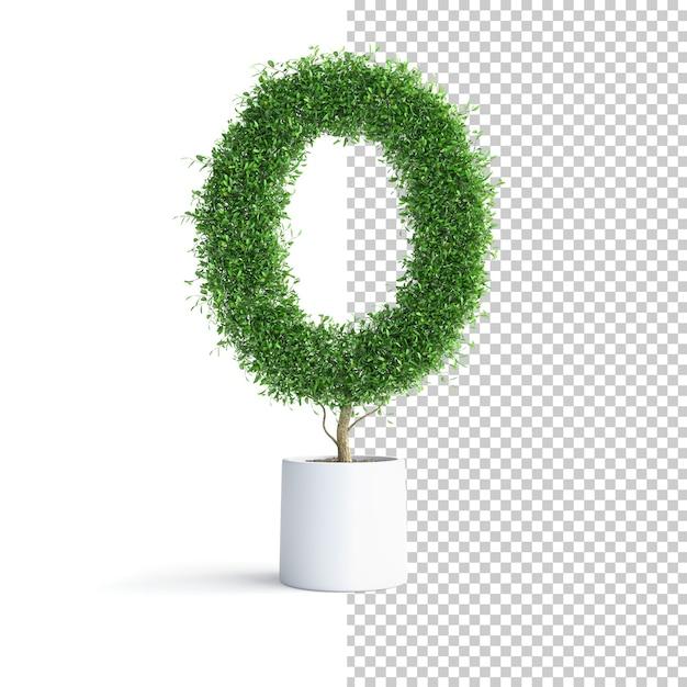 Буква o алфавита зеленого дерева Premium Psd