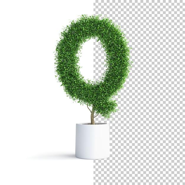Буква q алфавита из зеленого дерева Premium Psd