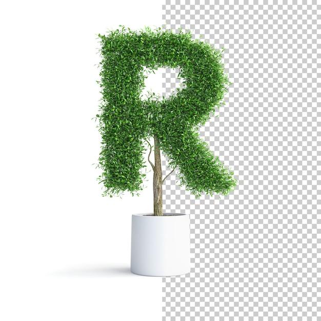 Буква r алфавита зеленого дерева Premium Psd
