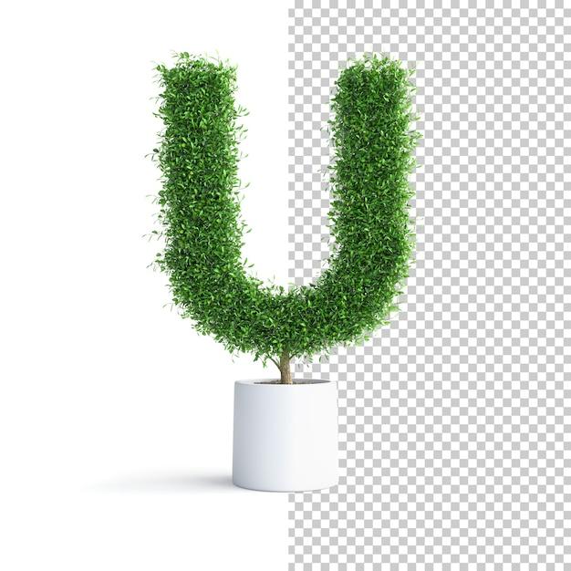 Зеленое дерево алфавит буква u Premium Psd