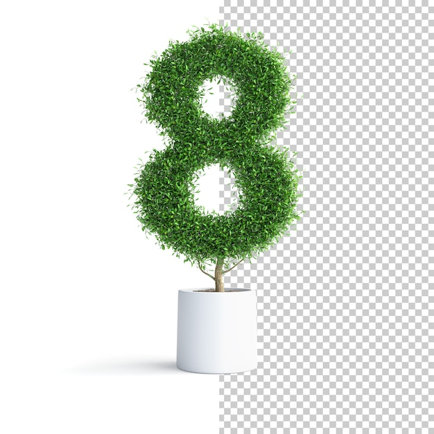 Зеленое дерево номер 8 Premium Psd