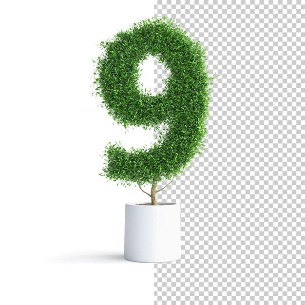 Зеленое дерево номер 9 Premium Psd