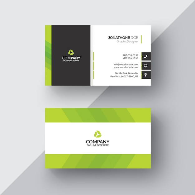 Green and white business card Free Psd