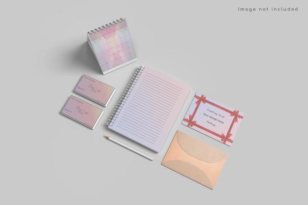 높은 각도보기에 인사말 카드 및 달력 모형 프리미엄 PSD 파일
