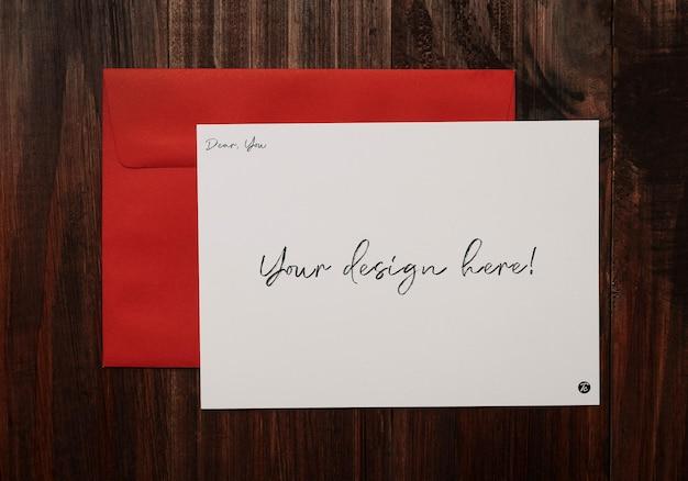 인사말 카드 및 봉투 모형 디자인 프리미엄 PSD 파일