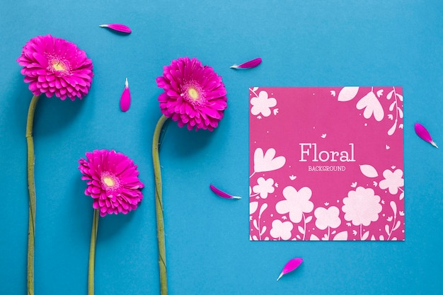 Greeting card with flowers Free Psd