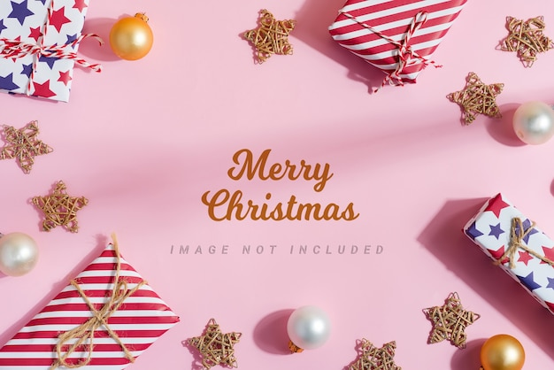 Greeting mockup from christmas gift boxes and decoration. Premium Psd