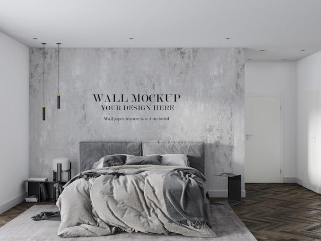 Серый макет стены спальни с аксессуарами Premium Psd