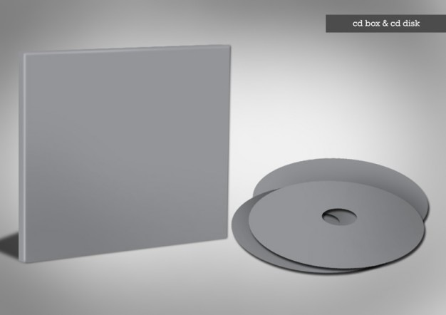 grey cd box with cd template psd file free download
