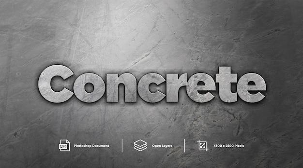 灰色のコンクリートテキスト効果デザインphotoshopレイヤースタイル効果 Premium Psd