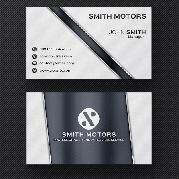 Grey corporate business card Free Psd