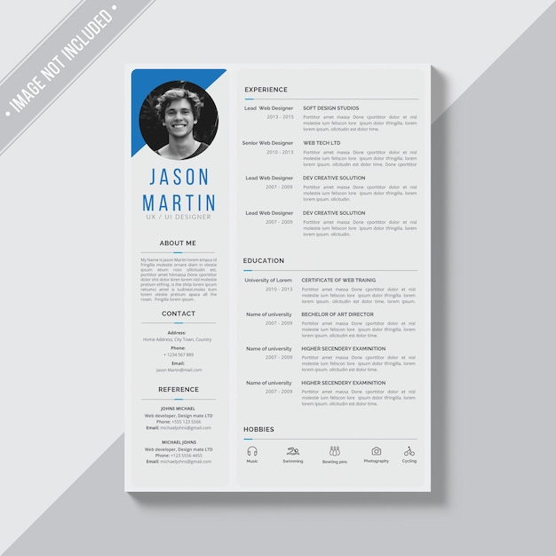 Grey cv template with blue details PSD file | Free Download