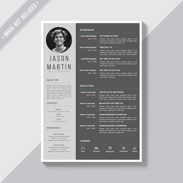 grey cv template psd file