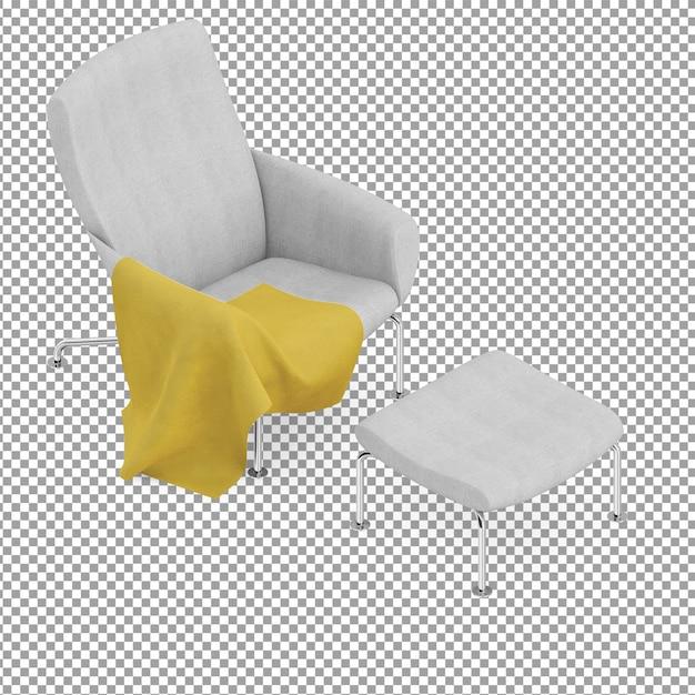 Grey isometric armchair with leg rest Premium Psd