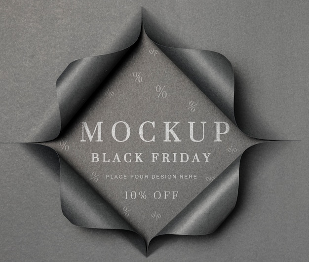 Mock-up grigio e carta strappata venerdì nero Psd Gratuite