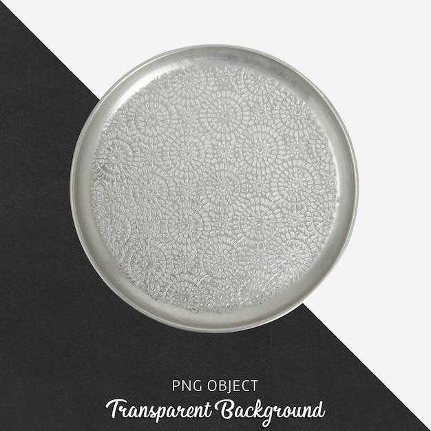 Grey patterned serving plate on transparent Premium Psd