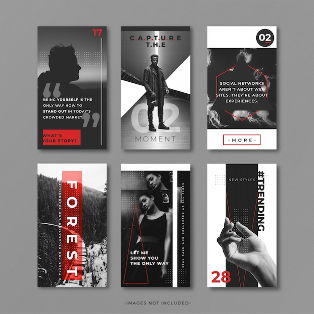 Grey and red instragram story template Free Psd