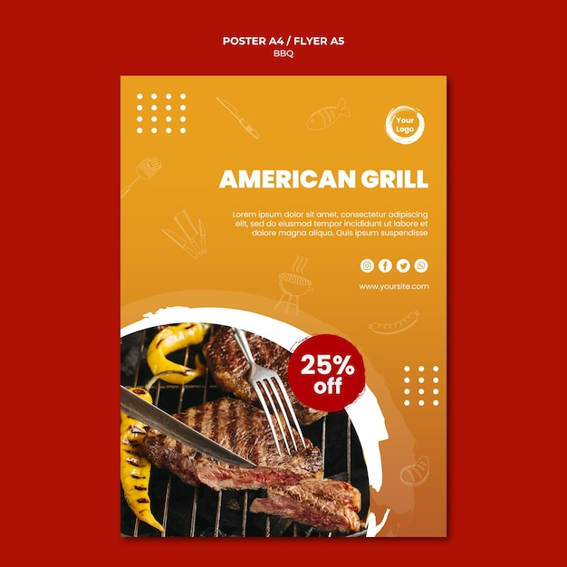 Grill and cutlery poster template Free Psd