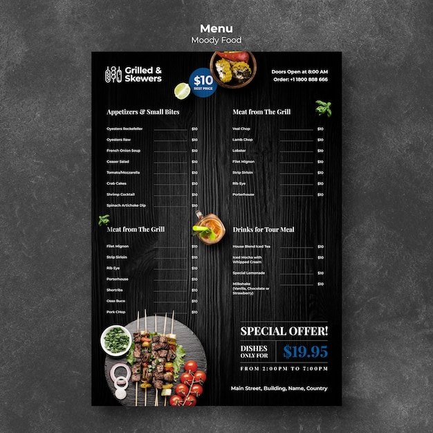 Grilled food and veggies restaurant menu template Free Psd
