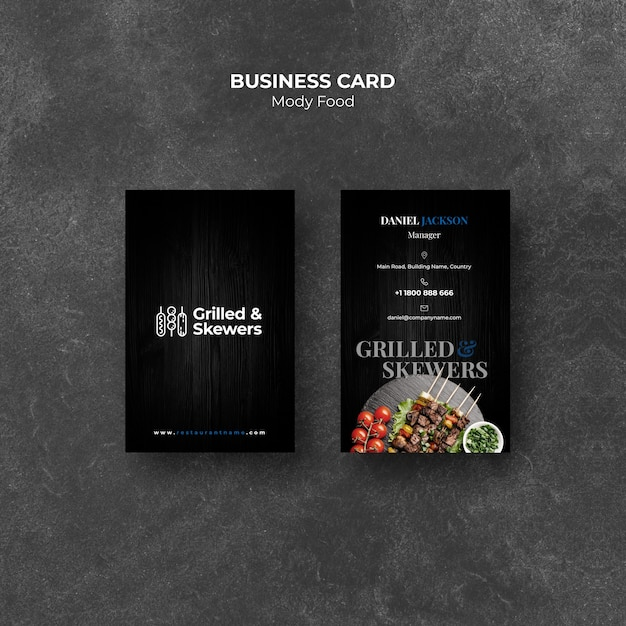 Grilled skewers restaurant business card template Free Psd