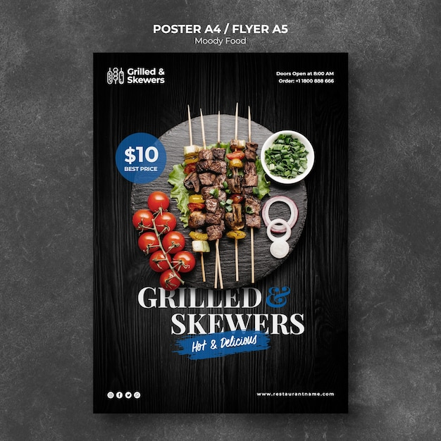 Grilled skewers with veggies restaurant poster template Free Psd