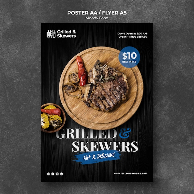 Grilled steak restaurant poster template Free Psd