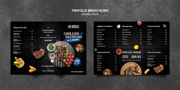 Grilled steak and veggies restaurant trifold brochure template Free Psd