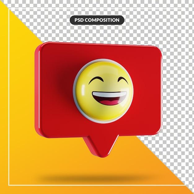 Ухмыляющееся лицо с улыбающимся символом эмодзи в речевом пузыре Premium Psd