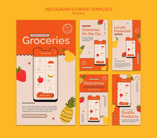 Grocery delivery service social media stories collection Free Psd