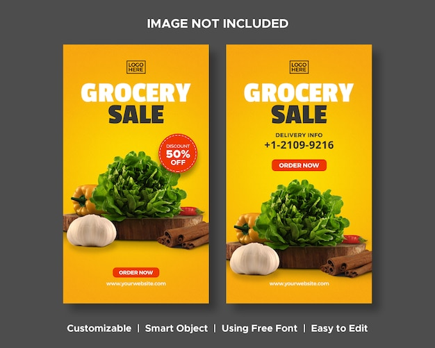 Grocery sale delivery special promo food product menu discount promotion social media instagram stor