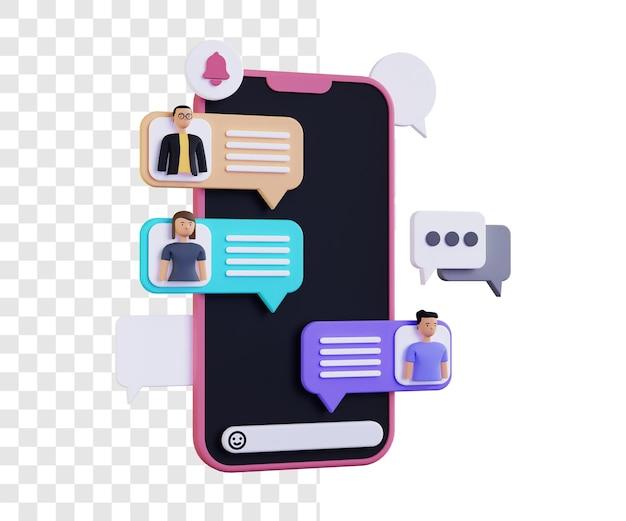 Group chat 3d illustration concept