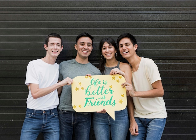 Group of friends posing Free Psd