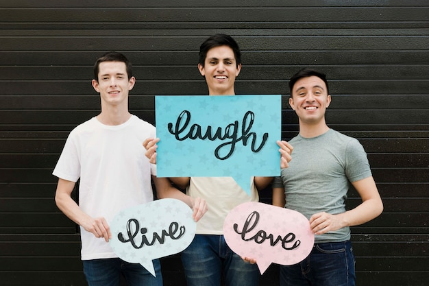 Group of male friends posing Free Psd