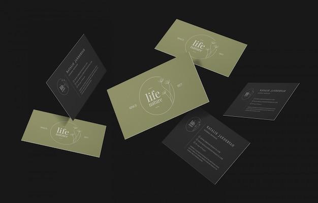 최소한의 비즈니스 카드 모형의 그룹 프리미엄 PSD 파일