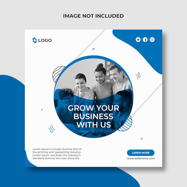 Grow your business social media post and web banner template Premium Psd