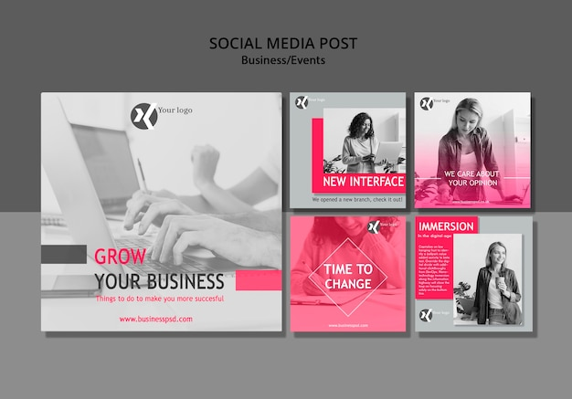 Grow your business social media post Free Psd