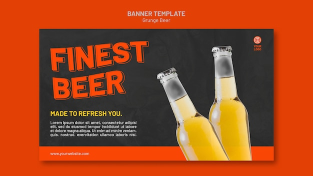 Grunge beer banner template Free Psd