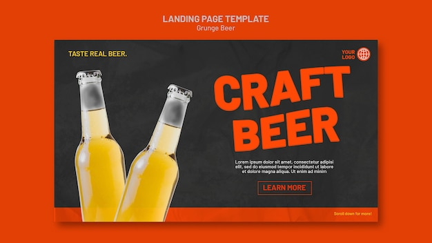 Grunge beer landing page template Free Psd