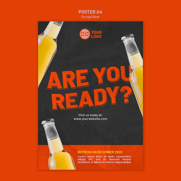 Grunge beer poster template Free Psd